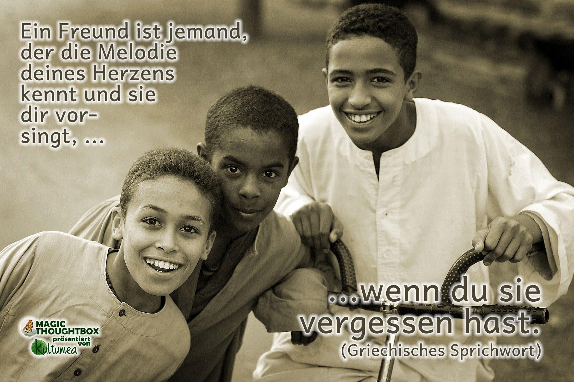 Ein Freund ist jemand, der die Melodie deines Herzens kennt und sie dir vorsingt, wenn du sie vergessen hast. (Griechisches Sprichwort)