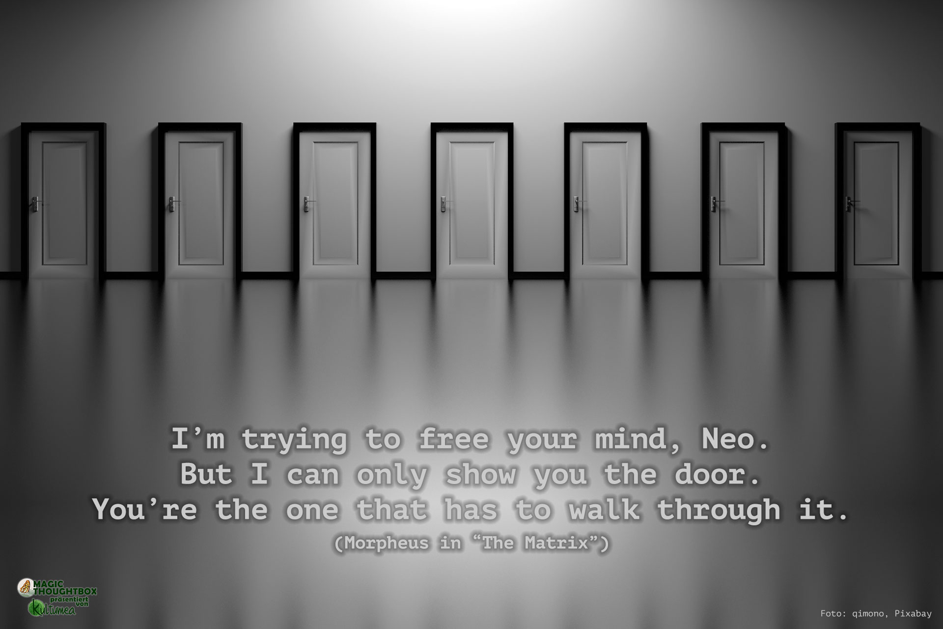 "I'm trying to free your mind, Neo. But I can only show you the door. You're the one that has to walk through it. (Morpheus in ""The Matrix"")"