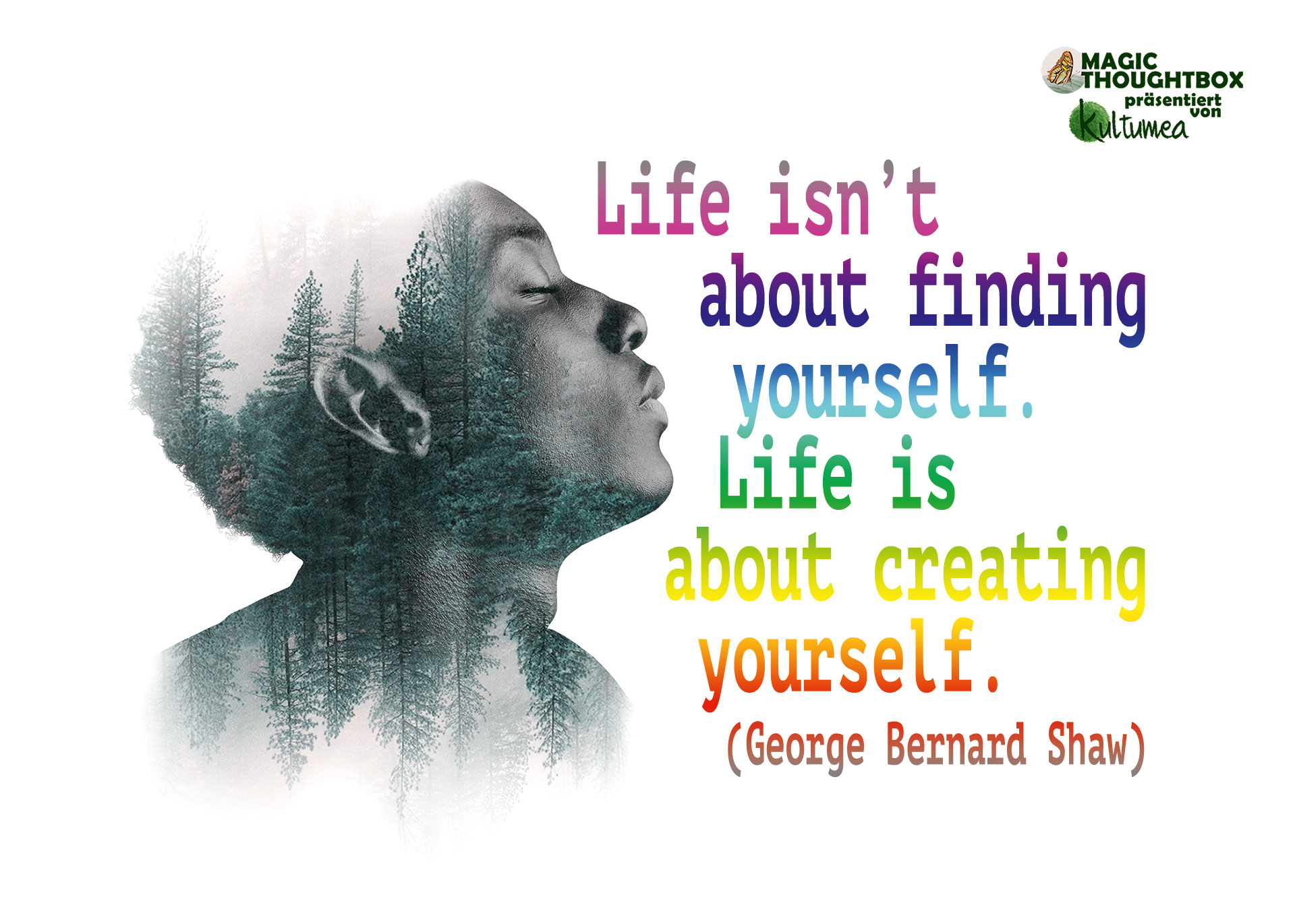Life isn't about finding yourself. Life is about creating yourself. (George Bernard Shaw)